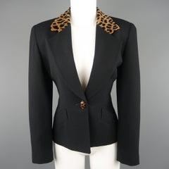 CHRISTIAN DIOR Size 4 Black Wool Tan Cheetah Collar Jacket