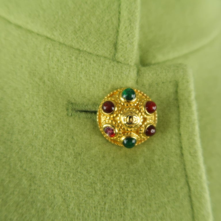 CHANEL BOUTIQUE 1990s Size 6 Light Green Wool Byzantine Button Military Jacket For Sale 2