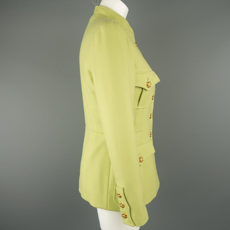 CHANEL BOUTIQUE 1990s Size 6 Light Green Wool Byzantine Button Military Jacket For Sale 3