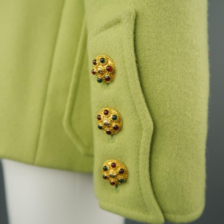 CHANEL BOUTIQUE 1990s Size 6 Light Green Wool Byzantine Button Military Jacket For Sale 6