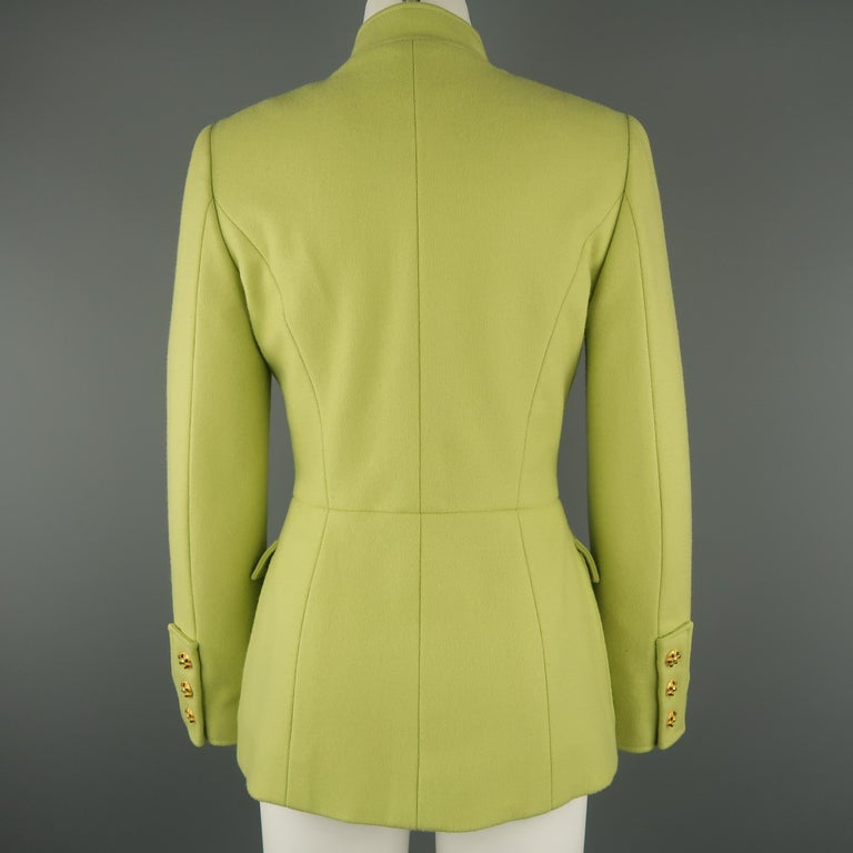 CHANEL BOUTIQUE 1990s Size 6 Light Green Wool Byzantine Button Military Jacket For Sale 4