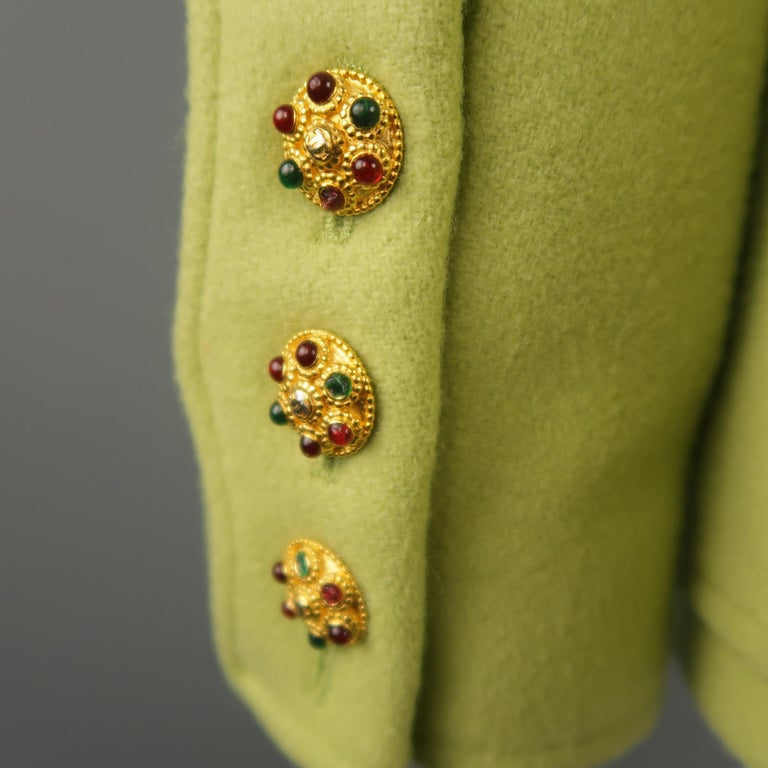 CHANEL BOUTIQUE 1990s Size 6 Light Green Wool Byzantine Button Military Jacket For Sale 5