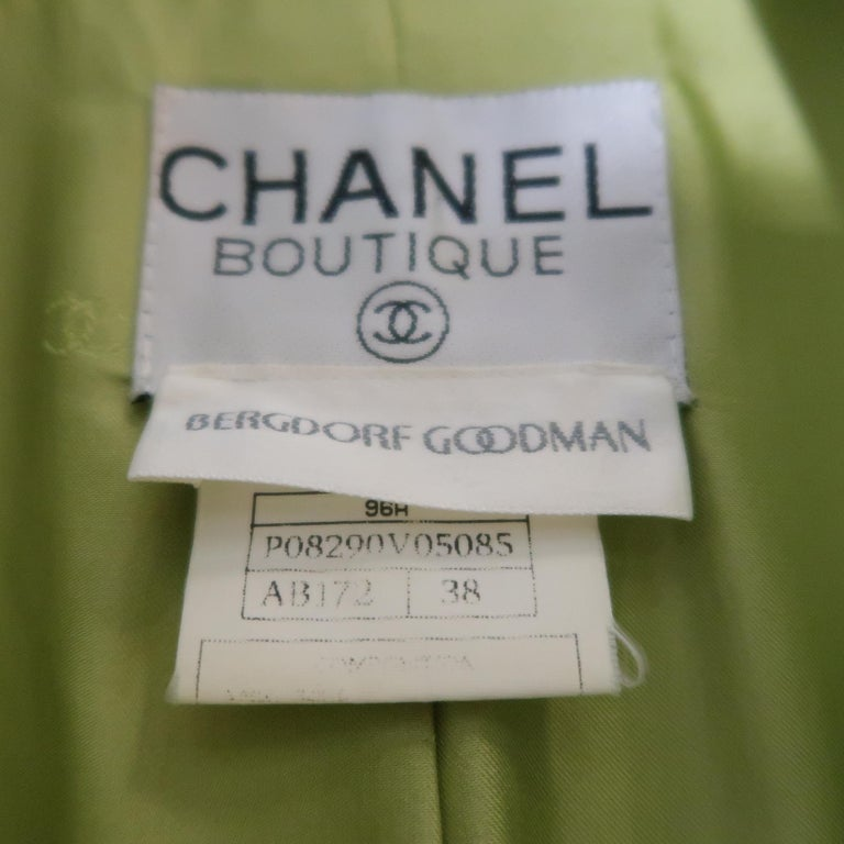 CHANEL BOUTIQUE 1990s Size 6 Light Green Wool Byzantine Button Military Jacket For Sale 7