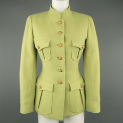 CHANEL BOUTIQUE 1990s Size 6 Light Green Wool Byzantine Button Military Jacket