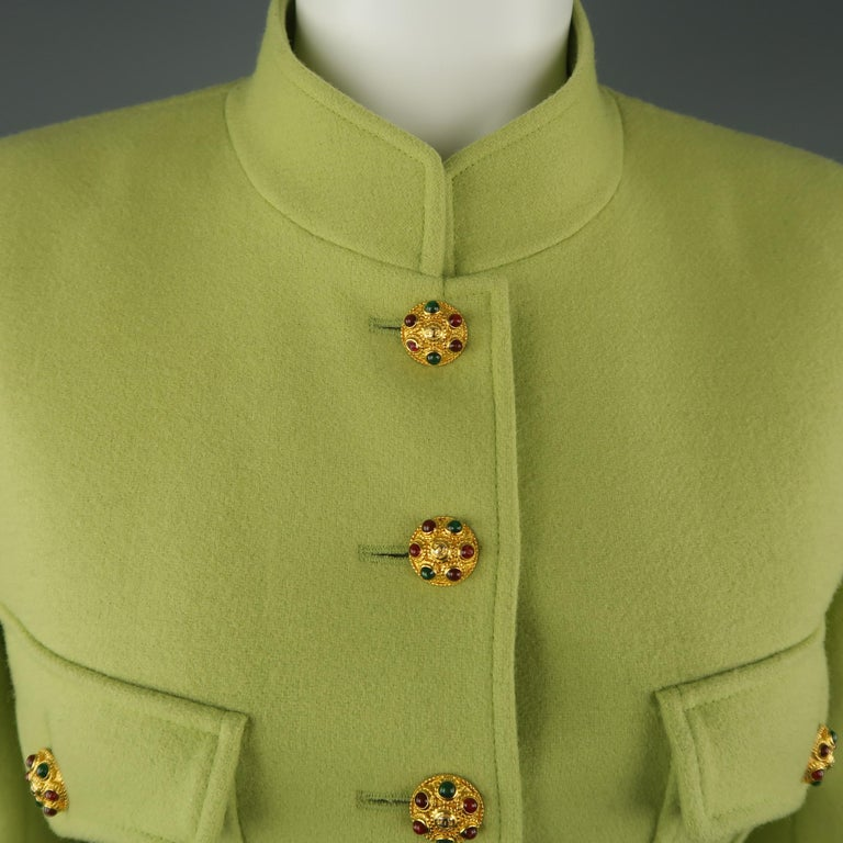 Beige CHANEL BOUTIQUE 1990s Size 6 Light Green Wool Byzantine Button Military Jacket For Sale