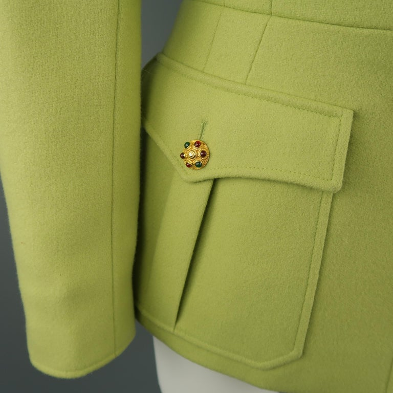 CHANEL BOUTIQUE 1990s Size 6 Light Green Wool Byzantine Button Military Jacket In Good Condition For Sale In San Francisco, CA