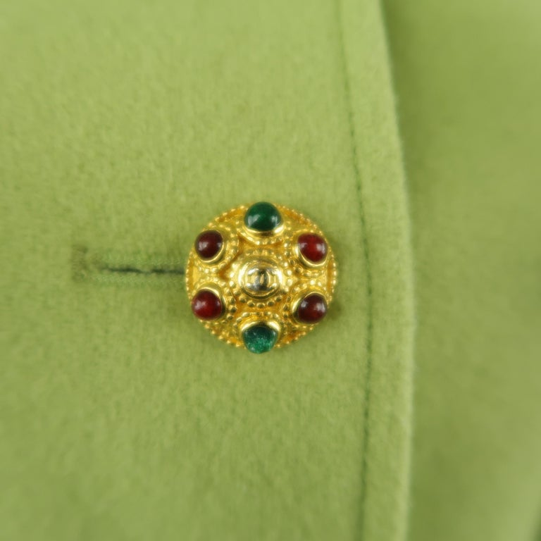 CHANEL BOUTIQUE 1990s Size 6 Light Green Wool Byzantine Button Military Jacket For Sale 1