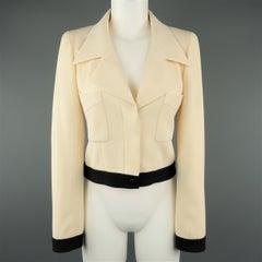 CHANEL Size 6 Beige & Black Wool Cropped Pointed Lapel Jacket
