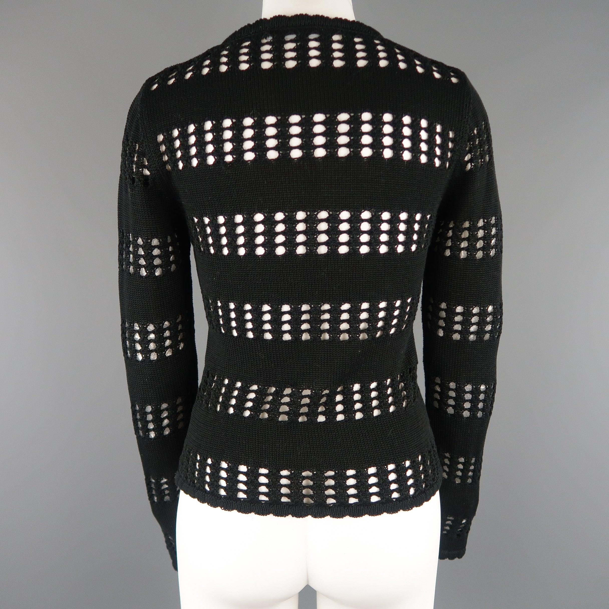 03b581795c DOLCE and GABBANA Size 2 Black Cotton Mesh Stripe Ruffle Cardigan Sweater  at 1stdibs