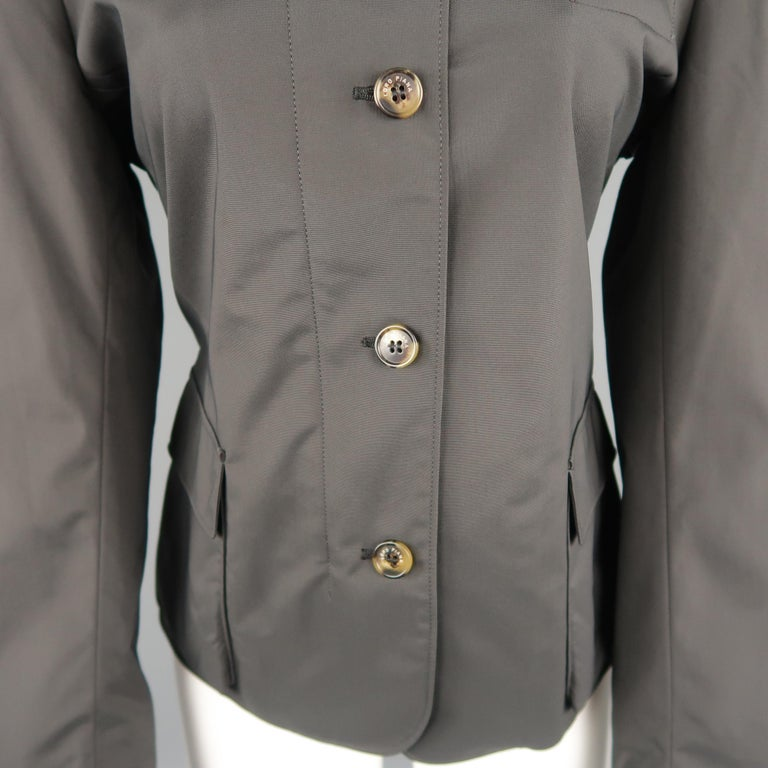 LORO PIANA Size 8 Charcoal Nylon Suede Trim Patch Pocket Coat Jacket In New Condition For Sale In San Francisco, CA