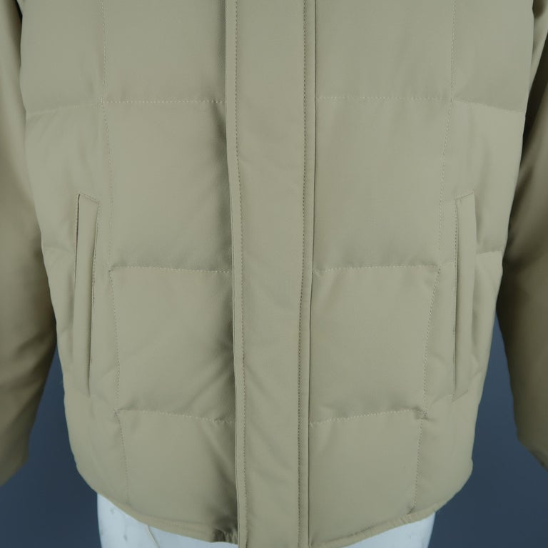 Brown LORO PIANA Jacket - 44 Khaki Quilted Nylon Detachable Fur Hood Down Puff For Sale