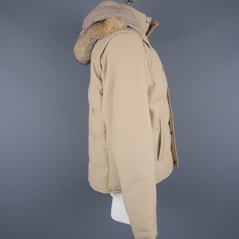Men's LORO PIANA Jacket - 44 Khaki Quilted Nylon Detachable Fur Hood Down Puff For Sale