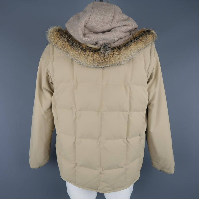 LORO PIANA Jacket - 44 Khaki Quilted Nylon Detachable Fur Hood Down Puff For Sale 1