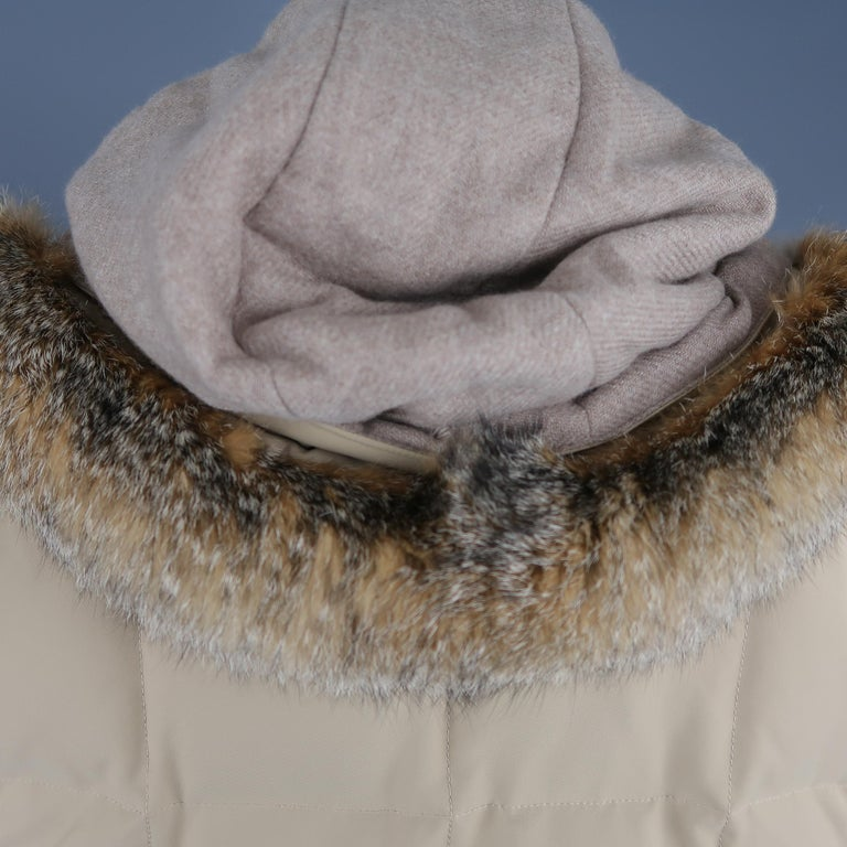 LORO PIANA Jacket - 44 Khaki Quilted Nylon Detachable Fur Hood Down Puff For Sale 2