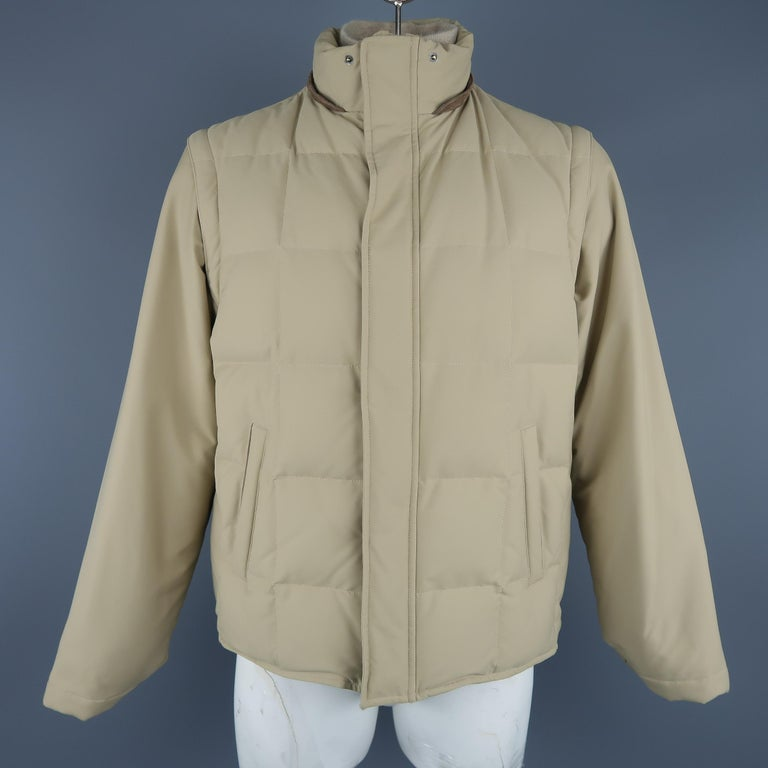 LORO PIANA Jacket - 44 Khaki Quilted Nylon Detachable Fur Hood Down Puff For Sale 3