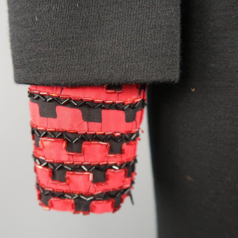 Women's Vintage 1980's BOB MACKIE Size L Black Jersey Red Beaded Neck Dress For Sale