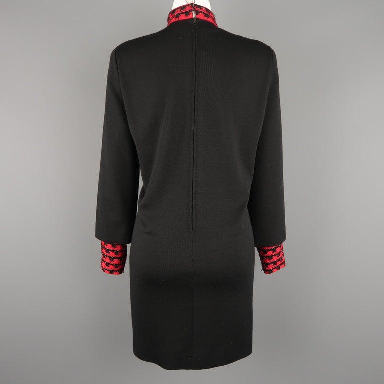 Vintage 1980's BOB MACKIE Size L Black Jersey Red Beaded Neck Dress For Sale 2