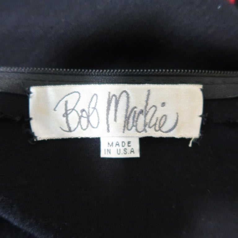 Vintage 1980's BOB MACKIE Size L Black Jersey Red Beaded Neck Dress For Sale 3
