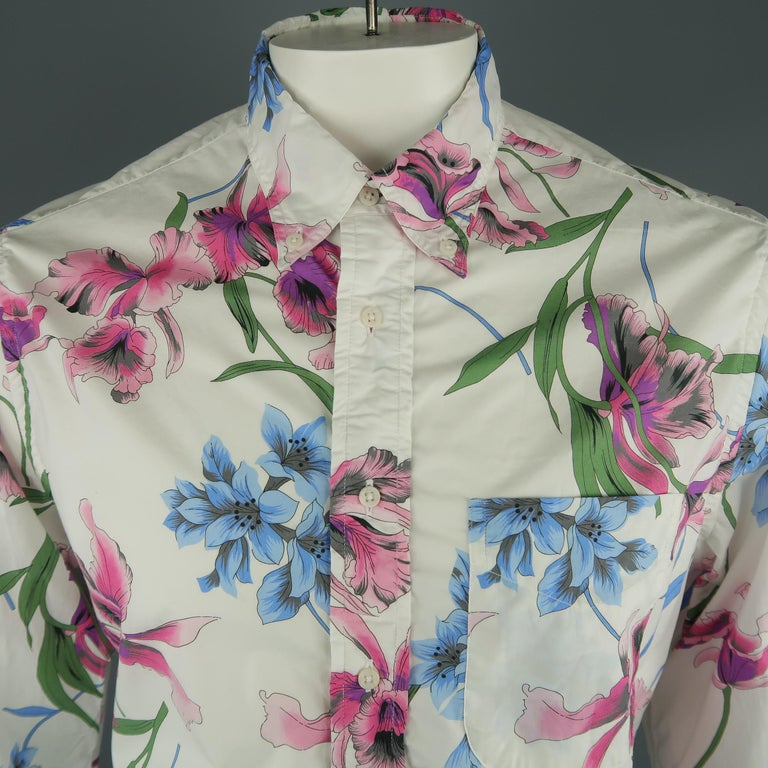 GITMAN VINTAGE long sleeve shirt come in white cotton with a floral print, front pocket and button down. Made in USA.   New with Tags. Marked: L   Measurements:   Shoulder: 18 in. Chest: 48 in. Sleeve: 27.5 in. Length: 33 in.