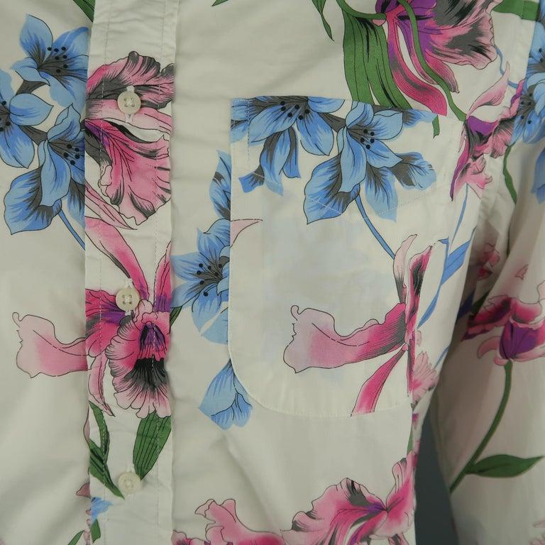 Gray GITMAN VINTAGE Size L White Floral Cotton Long Sleeve Shirt For Sale