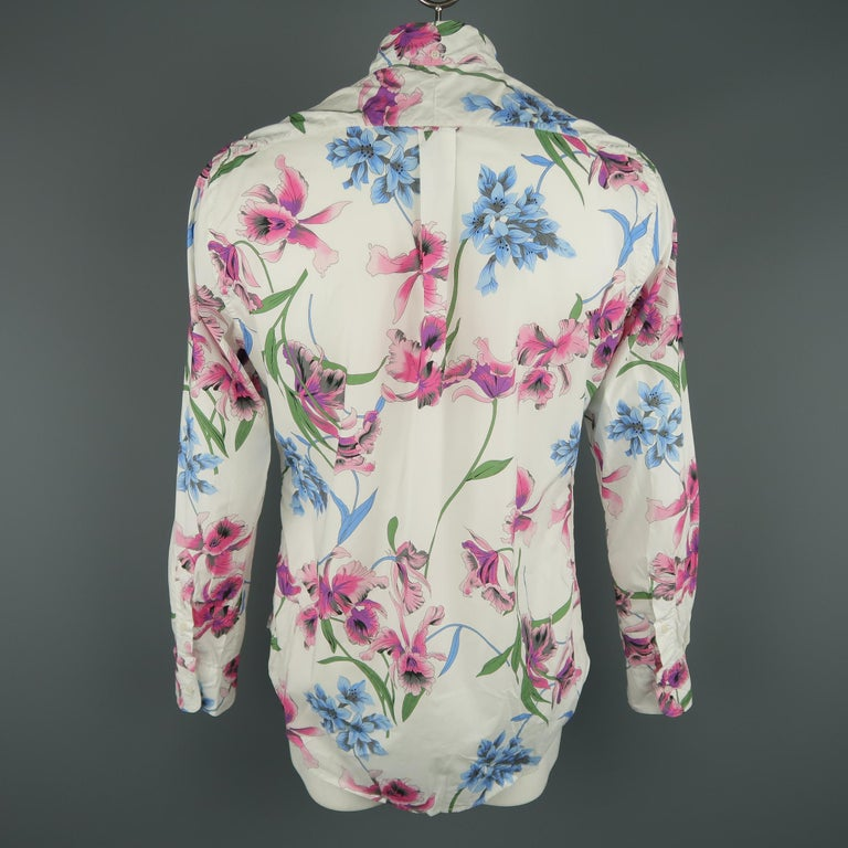 GITMAN VINTAGE Size L White Floral Cotton Long Sleeve Shirt In New Condition For Sale In San Francisco, CA