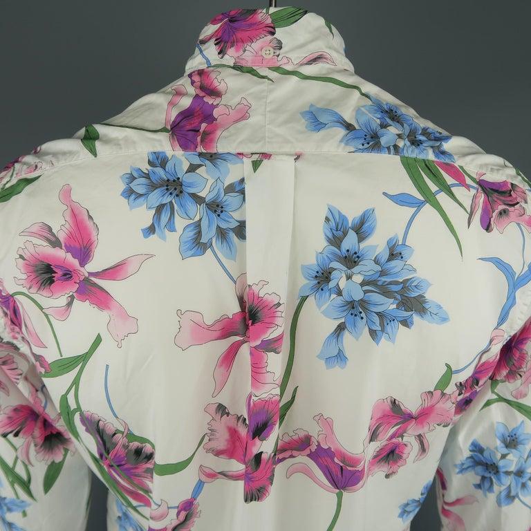 Men's GITMAN VINTAGE Size L White Floral Cotton Long Sleeve Shirt For Sale