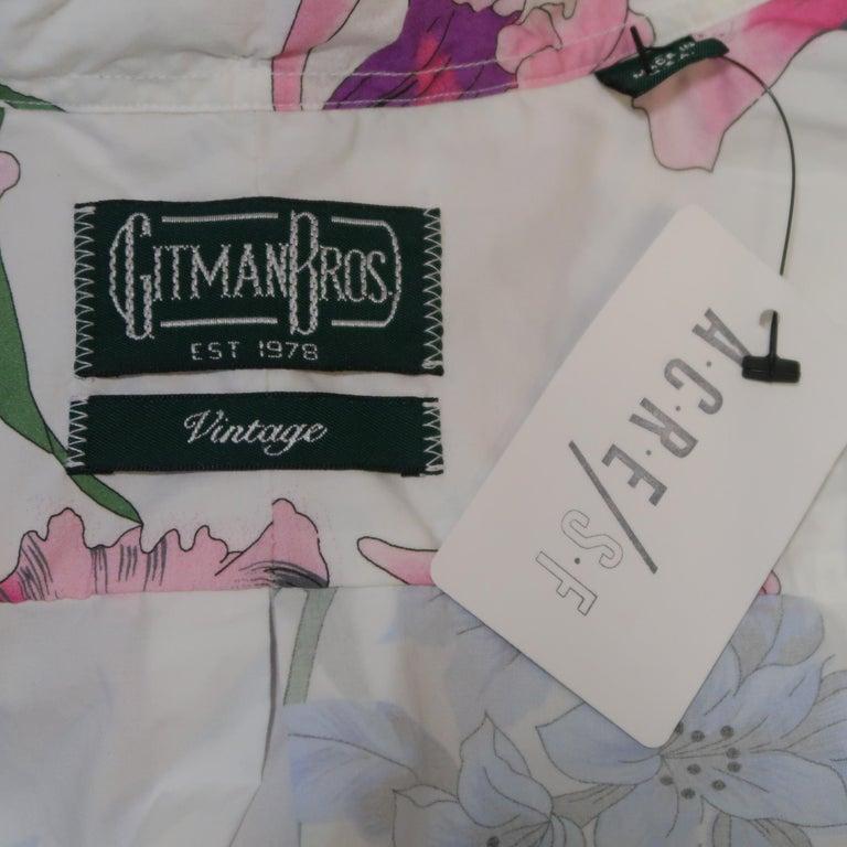 GITMAN VINTAGE Size L White Floral Cotton Long Sleeve Shirt For Sale 2