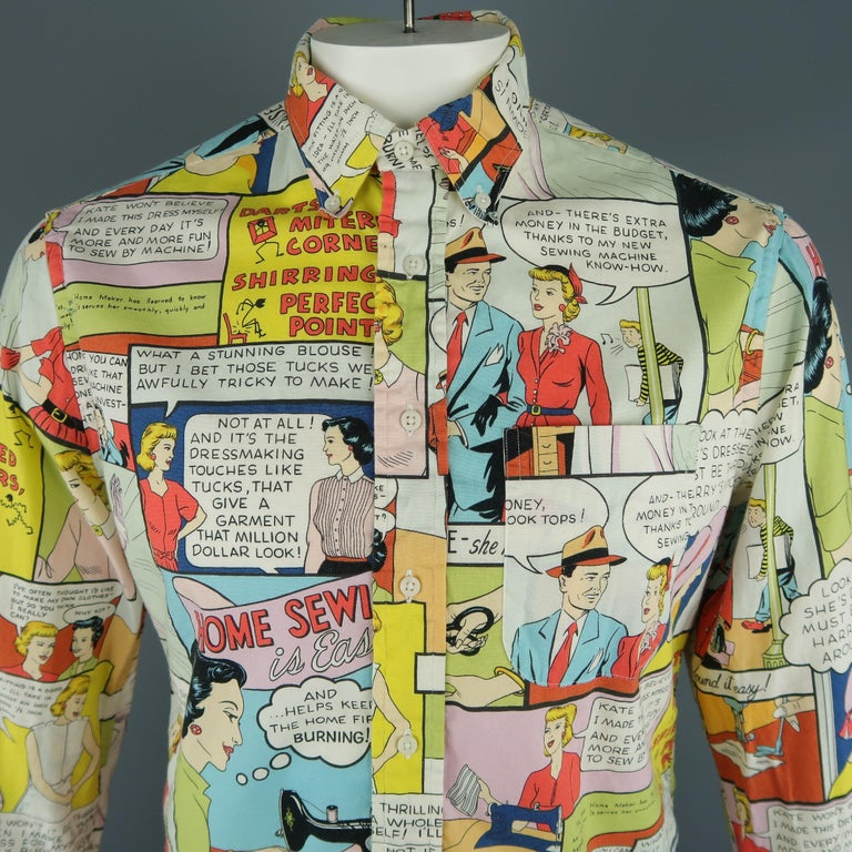 a193568636b GITMAN VINTAGE long sleeve shirt come in white cotton with a comic print,  front pocket