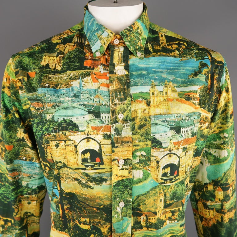 GITMAN VINTAGE long sleeve shirt come in multi-color cotton with a postcard print, front pocket and button down. Made in USA.   Excellent Pre-Owned Condition. Marked: L   Measurements:   Shoulder: 19 in. Chest: 50 in. Sleeve: 26 in. Length: 32 in.