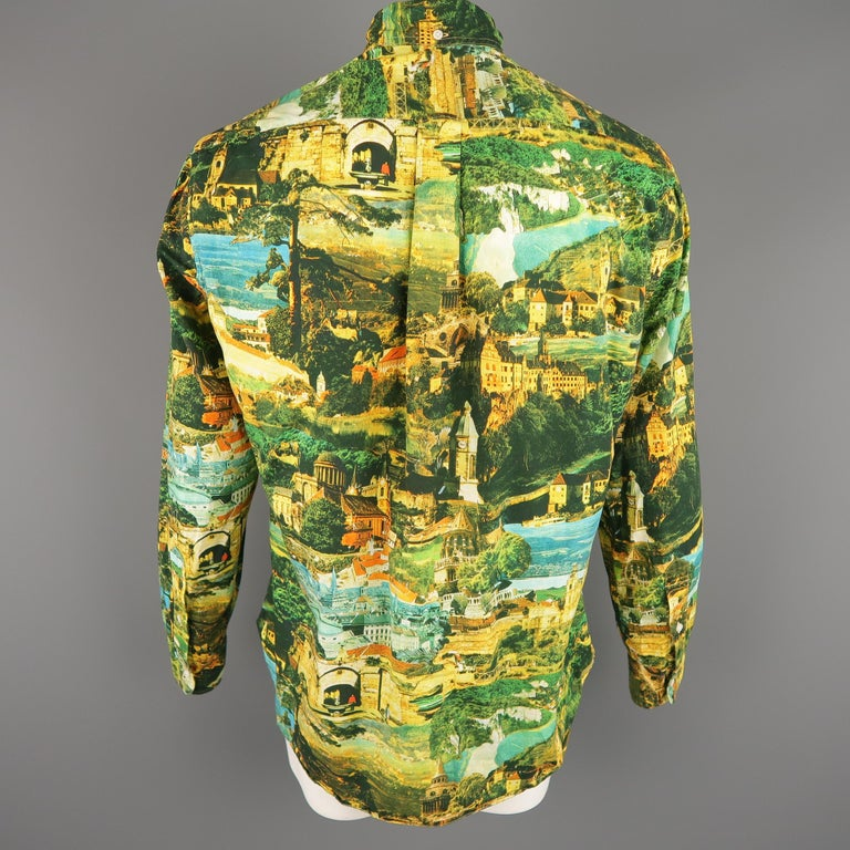 GITMAN VINTAGE Size L Multi-Color Print Cotton Long Sleeve Shirt In Excellent Condition For Sale In San Francisco, CA