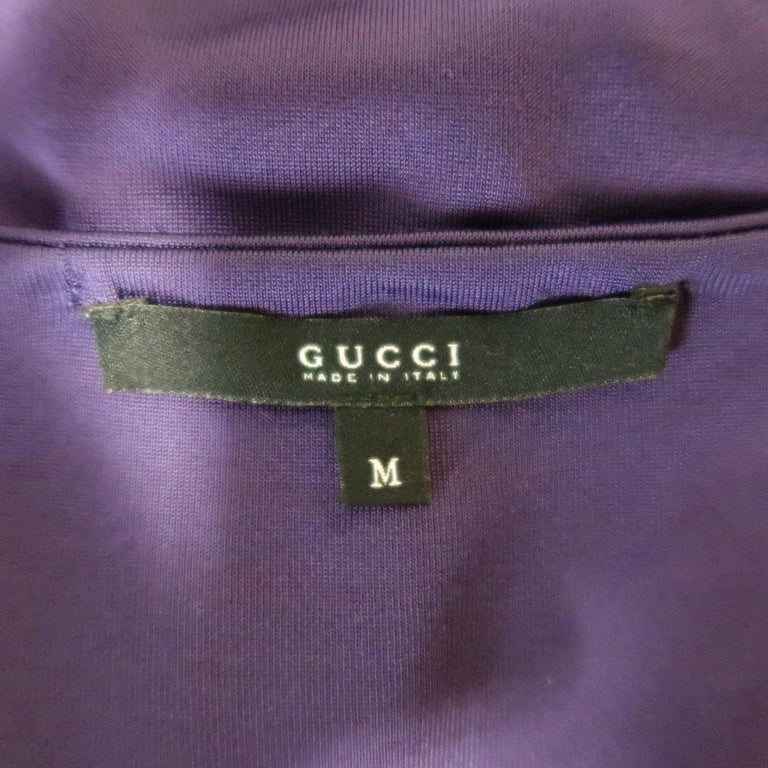 GUCCI Size M Purple Keyhole Cutout Long Sleeve Cocktail Sheath Dress For Sale 4