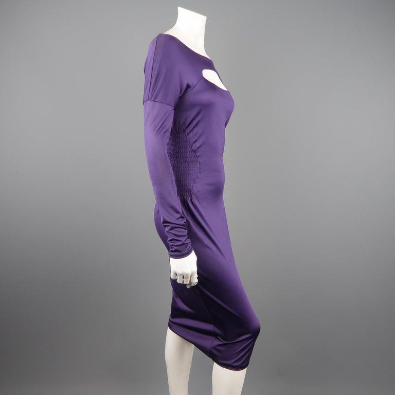 Women's GUCCI Size M Purple Keyhole Cutout Long Sleeve Cocktail Sheath Dress For Sale