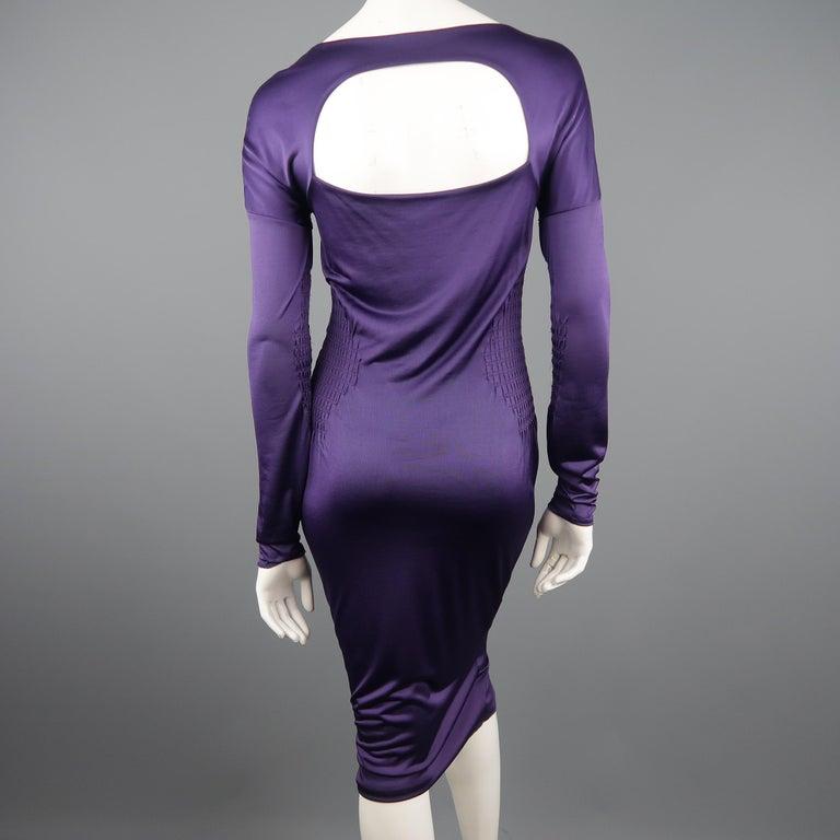 GUCCI Size M Purple Keyhole Cutout Long Sleeve Cocktail Sheath Dress For Sale 1