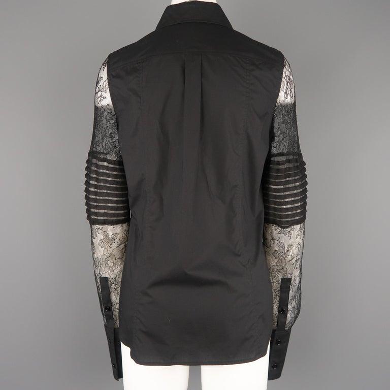 VERA WANG Size 6 Black Cotton & Lace Ruffled Front Tuxedo Shirt Blouse For Sale 4