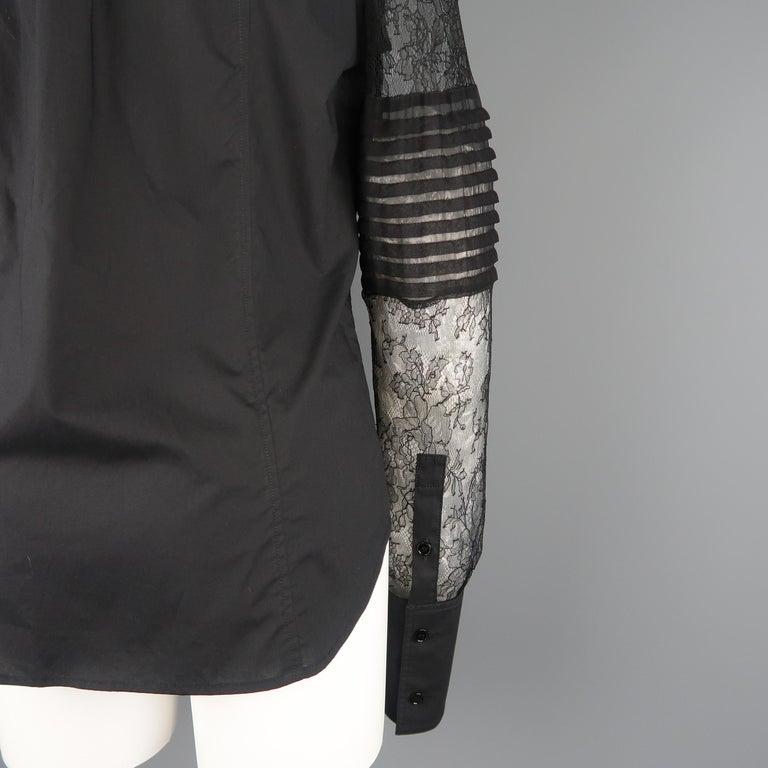 VERA WANG Size 6 Black Cotton & Lace Ruffled Front Tuxedo Shirt Blouse For Sale 3