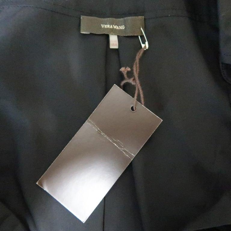 VERA WANG Size 6 Black Cotton & Lace Ruffled Front Tuxedo Shirt Blouse For Sale 5
