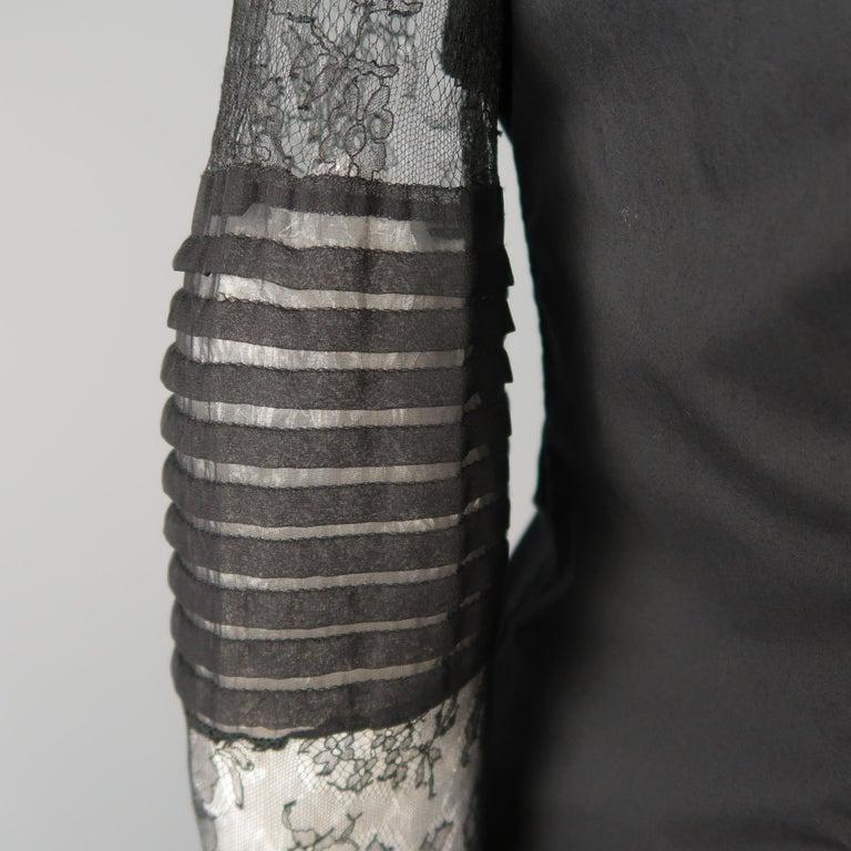 Women's VERA WANG Size 6 Black Cotton & Lace Ruffled Front Tuxedo Shirt Blouse For Sale
