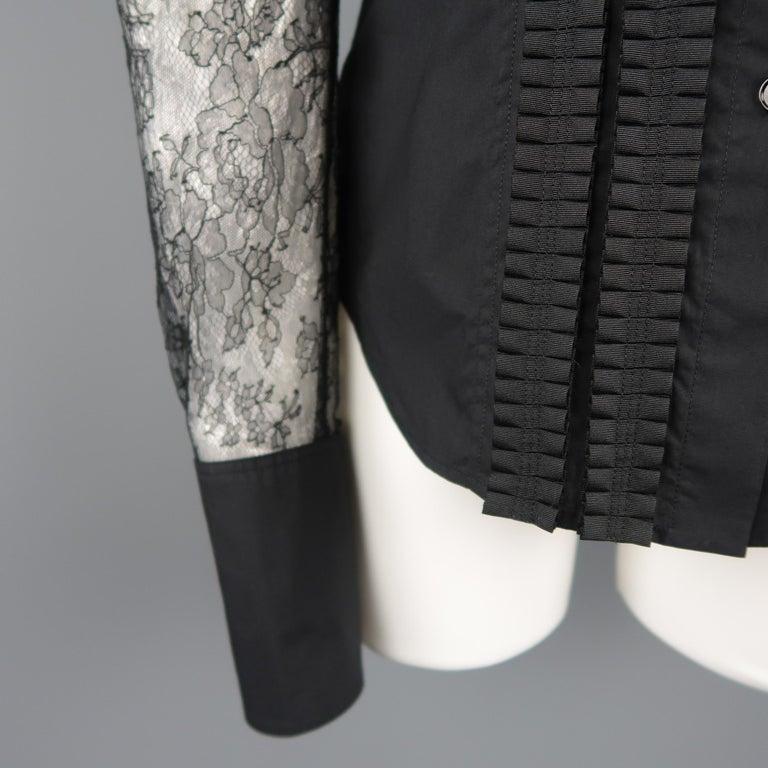 VERA WANG Size 6 Black Cotton & Lace Ruffled Front Tuxedo Shirt Blouse For Sale 1