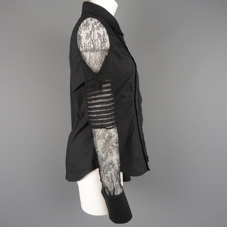 VERA WANG Size 6 Black Cotton & Lace Ruffled Front Tuxedo Shirt Blouse For Sale 2