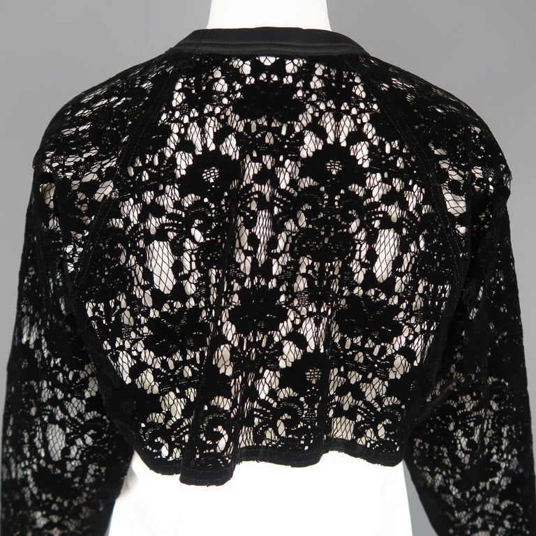 DKNY Size S Black & White Velvet Lace Sleeve High Low Shirt Blouse For Sale 4