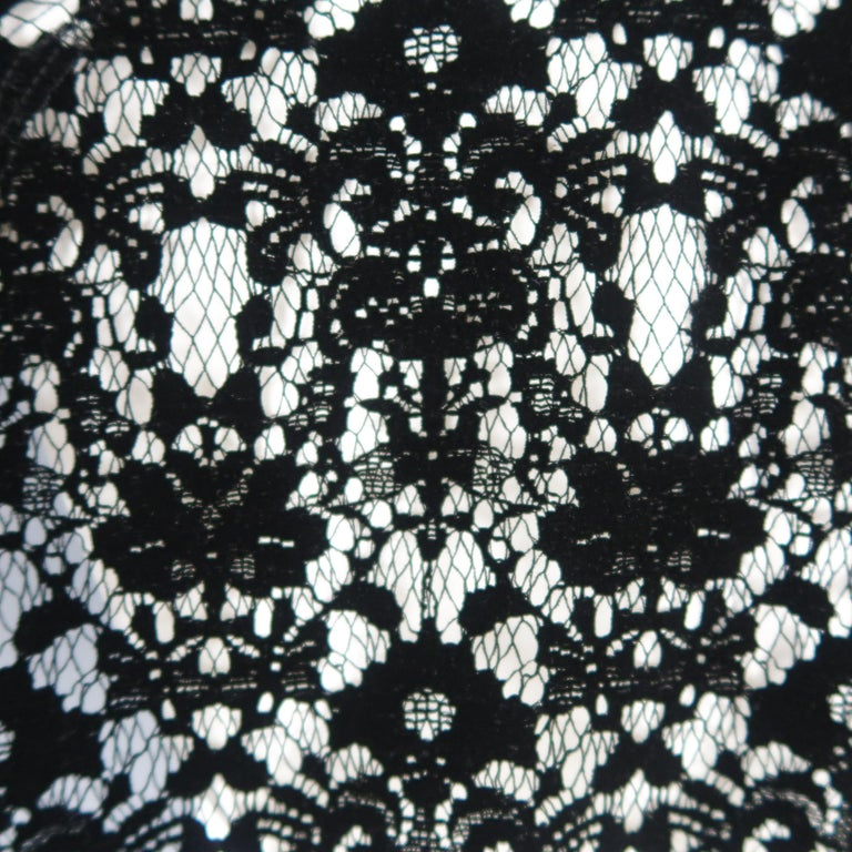 DKNY Size S Black & White Velvet Lace Sleeve High Low Shirt Blouse For Sale 5