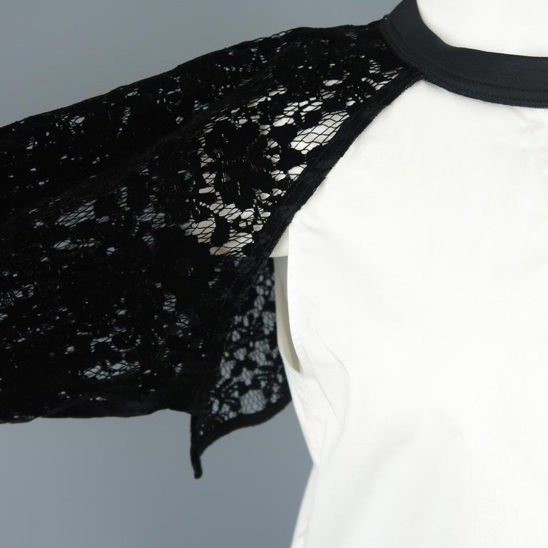 Women's DKNY Size S Black & White Velvet Lace Sleeve High Low Shirt Blouse For Sale