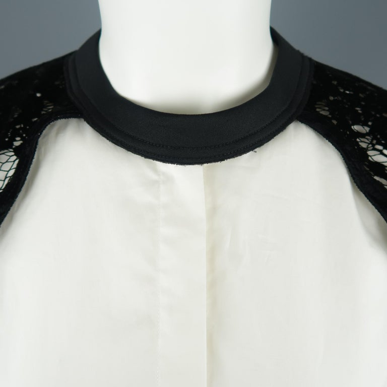 DKNY Size S Black & White Velvet Lace Sleeve High Low Shirt Blouse In New Condition For Sale In San Francisco, CA