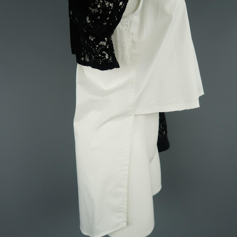 DKNY Size S Black & White Velvet Lace Sleeve High Low Shirt Blouse For Sale 2