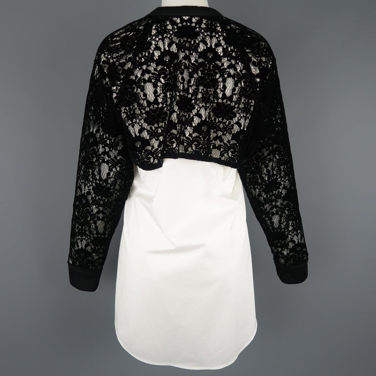 DKNY Size S Black & White Velvet Lace Sleeve High Low Shirt Blouse For Sale 3