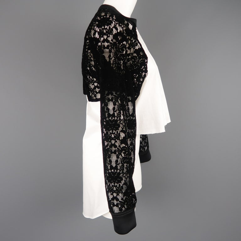 DKNY Size S Black & White Velvet Lace Sleeve High Low Shirt Blouse For Sale 1