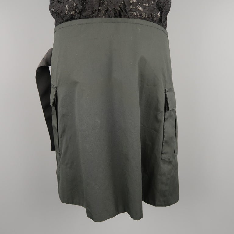 SACAI LUCK Size M Black Lace Wrap Military Skirt Dress For Sale 7