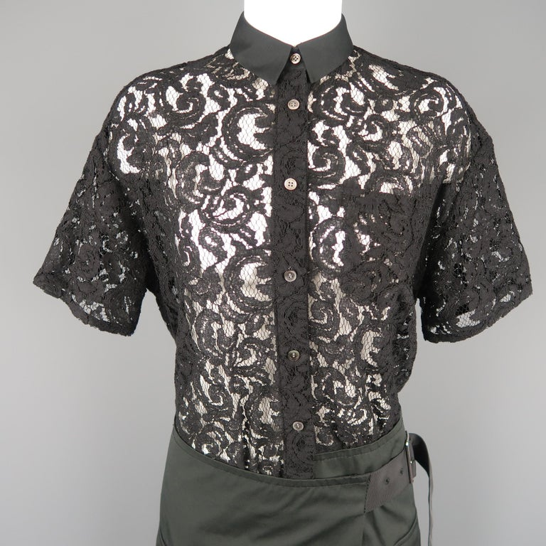 SACAI LUCK dress features a short sleeve black lace button up top with a drop waist slate gray wrap military pocket skirt with belt closure. Made in Japan.   Excellent Pre-Owned Condition. Marked: M   Measurements:   Shoulder: 18 in. Bust: 44