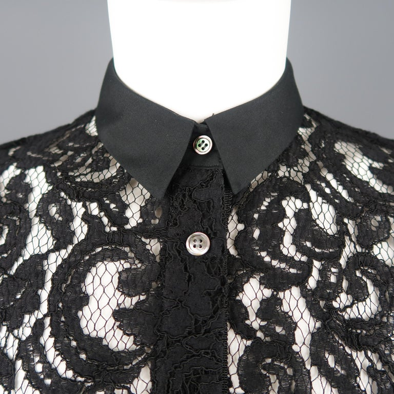 SACAI LUCK Size M Black Lace Wrap Military Skirt Dress In Excellent Condition For Sale In San Francisco, CA