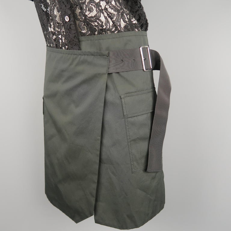 SACAI LUCK Size M Black Lace Wrap Military Skirt Dress For Sale 1